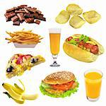 Set of fast food isolated on white background Stock Photo - Royalty-Free, Artist: tetkoren                      , Code: 400-04259671