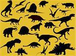 collection of dinosaur silhouette - vector Stock Photo - Royalty-Free, Artist: paunovic                      , Code: 400-04259770