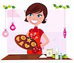 Funny cooking illustration of mother preparing christmas cookies. Stylized retro illustration. Stock Photo - Royalty-Free, Artist: lordalea                      , Code: 400-04260278