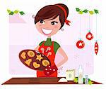 Funny cooking illustration of woman in red apron preparing christmas cookies. Stylized vector illustration in retro style. Stock Photo - Royalty-Free, Artist: lordalea                      , Code: 400-04260279