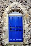 Gothic style door in a flint wall in the historic city of norwich, norfolk Stock Photo - Royalty-Free, Artist: nixoncreative                 , Code: 400-04260637