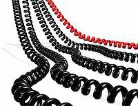 Several telephone cables red and black isolated in white Stock Photo - Royalty-Freenull, Code: 400-04260673