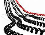 Several telephone cables red and black isolated in white Stock Photo - Royalty-Free, Artist: carloscastilla                , Code: 400-04260673