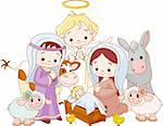 Christmas  nativity scene with holy family and angel Stock Photo - Royalty-Free, Artist: Lafleur312                    , Code: 400-04261222