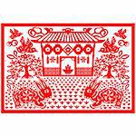 Chinese style of paper cut for year of the rabbit. Stock Photo - Royalty-Free, Artist: mylefthand                    , Code: 400-04261619