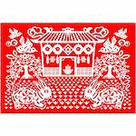 Chinese style of paper cut for year of the rabbit. Stock Photo - Royalty-Free, Artist: mylefthand                    , Code: 400-04261620