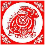 Chinese style of paper cut for year of the rabbit. Stock Photo - Royalty-Free, Artist: mylefthand                    , Code: 400-04261623