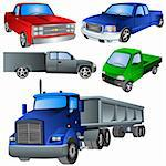 Vector illustration of different trucks isolated on white background. Stock Photo - Royalty-Free, Artist: Stiven                        , Code: 400-04262084
