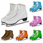 The set women's figure ice skate. Illustration in vector format EPS. Stock Photo - Royalty-Free, Artist: orensila                      , Code: 400-04262236