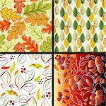 Set floral bright seamless patterns with leaves (vector) Stock Photo - Royalty-Free, Artist: OlgaDrozd                     , Code: 400-04263126