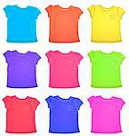 Group of Vibrant Tee Shirts Pattern Isolated on White with a Clipping Path. Stock Photo - Royalty-Free, Artist: brookebecker                  , Code: 400-04263171