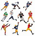 Set illustration of an American footballer with ball. Vector illustration