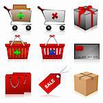 illustration of set of shopping icons on isolated background