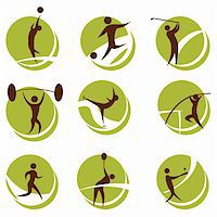 fat man balls - illustration of sports on white background Stock Photo - Royalty-Freenull, Code: 400-04265647