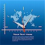 illustration of clock on world map Stock Photo - Royalty-Free, Artist: get4net                       , Code: 400-04265662