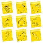 illustration of fruit & vegetables sketch on chit sticker