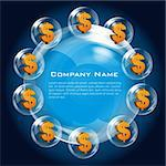 illustration of business card with dollar sign and bubbles Stock Photo - Royalty-Free, Artist: get4net                       , Code: 400-04265717