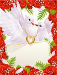Greeting card with doves Stock Photo - Royalty-Free, Artist: denis13                       , Code: 400-04266039
