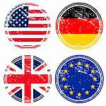 Rubber stamps with flags Stock Photo - Royalty-Free, Artist: hibrida13                     , Code: 400-04267590