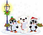 Christmas carolers ? cute polar bear and two penguins- under streetlight Stock Photo - Royalty-Free, Artist: Dazdraperma                   , Code: 400-04267823