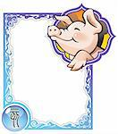 Pig, the twelfth sign of the Chinese zodiac's 12 animals, vector illustration in cartoon style Stock Photo - Royalty-Free, Artist: ensiferum                     , Code: 400-04267893