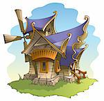 Cartoon fairy windmill with amazing architecture, vector illustration