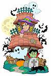 Haunted house with various characters - vector illustration. Stock Photo - Royalty-Free, Artist: clairev                       , Code: 400-04267959