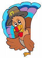 pilgrimartworks - Lurking Thanksgiving turkey - vector illustration. Stock Photo - Royalty-Freenull, Code: 400-04267966