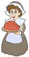 pilgrimartworks - Pilgrim woman with roast turkey - vector illustration. Stock Photo - Royalty-Freenull, Code: 400-04267974