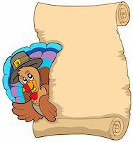 pilgrimartworks - Thanksgiving scroll with turkey 1 - vector illustration. Stock Photo - Royalty-Freenull, Code: 400-04267989