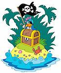 Treasure island with pirate parrot - vector illustration. Stock Photo - Royalty-Free, Artist: clairev                       , Code: 400-04267993