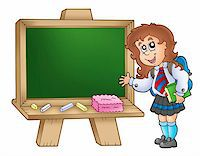 students learning cartoon - Cartoon girl with chalkboard - color illustration. Stock Photo - Royalty-Freenull, Code: 400-04268466