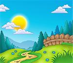 Country landscape with Sun - color illustration.