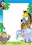 Frame with happy African animals - color illustration. Stock Photo - Royalty-Free, Artist: clairev                       , Code: 400-04268491