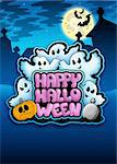 Happy Halloween sign with ghosts - color illustration. Stock Photo - Royalty-Free, Artist: clairev                       , Code: 400-04268516