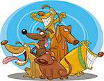 cartoon illustration of funny dogs group Stock Photo - Royalty-Free, Artist: izakowski                     , Code: 400-04269359