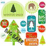 winter sales, various shapes and colors Stock Photo - Royalty-Free, Artist: dip                           , Code: 400-04270169