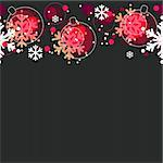 Seamless christmas pattern with red balls and white snowflakes