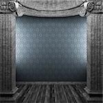 stone columns and wallpaper made in 3D Stock Photo - Royalty-Free, Artist: icetray                       , Code: 400-04270307