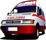 Modern ambulance van over white. Colored vector illustration Stock Photo - Royalty-Free, Artist: leonido                       , Code: 400-04270315