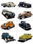 Eight  rarity cars fifty ears old. Sedan, cabriolet with closed roof. Vector illustration Stock Photo - Royalty-Free, Artist: leonido                       , Code: 400-04270341