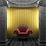 stone columns, chair and wallpaper made in 3D Stock Photo - Royalty-Free, Artist: icetray                       , Code: 400-04270595