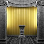 stone columns, pedestal and wallpaper made in 3D Stock Photo - Royalty-Free, Artist: icetray                       , Code: 400-04270597