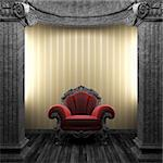 stone columns, chair and wallpaper made in 3D Stock Photo - Royalty-Free, Artist: icetray                       , Code: 400-04270598