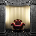 stone columns, chair and wallpaper made in 3D Stock Photo - Royalty-Free, Artist: icetray                       , Code: 400-04270599