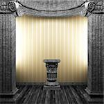 stone columns, pedestal and wallpaper made in 3D Stock Photo - Royalty-Free, Artist: icetray                       , Code: 400-04270601