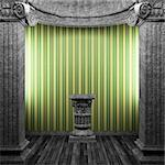 stone columns, pedestal and wallpaper made in 3D Stock Photo - Royalty-Free, Artist: icetray                       , Code: 400-04270604