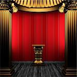bronze columns, pedestal and wallpaper made in 3D Stock Photo - Royalty-Free, Artist: icetray                       , Code: 400-04270607