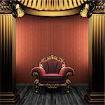 bronze columns, chair and wallpaper made in 3D Stock Photo - Royalty-Free, Artist: icetray                       , Code: 400-04270609