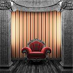 stone columns, chair and wallpaper made in 3D Stock Photo - Royalty-Free, Artist: icetray                       , Code: 400-04270611